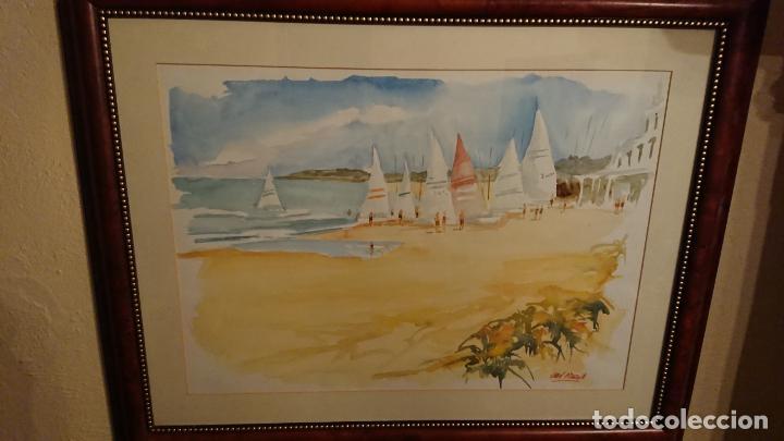 Arte: Antiguo cuadro acuarela de marina realizado por el pintor Joan Odena enmarcado - Foto 9 - 152789994