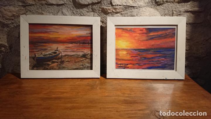 Arte: Antiguos 2 cuadros acuarela de marina del pintor P. Font y F. lRuige - Foto 2 - 152792870