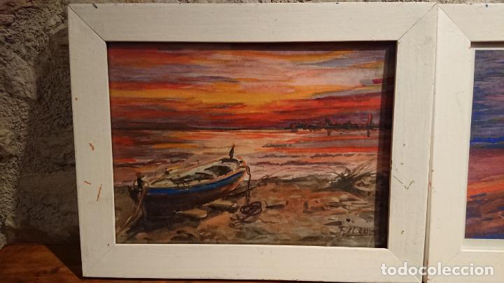 Arte: Antiguos 2 cuadros acuarela de marina del pintor P. Font y F. lRuige - Foto 3 - 152792870