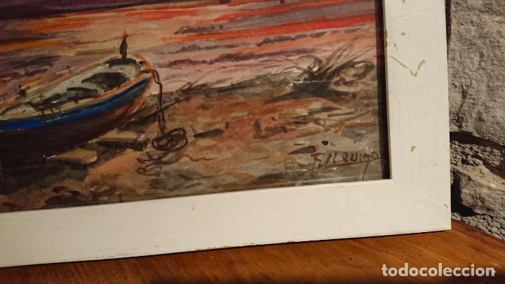 Arte: Antiguos 2 cuadros acuarela de marina del pintor P. Font y F. lRuige - Foto 4 - 152792870