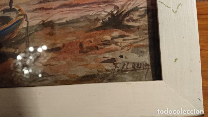 Arte: Antiguos 2 cuadros acuarela de marina del pintor P. Font y F. lRuige - Foto 5 - 152792870