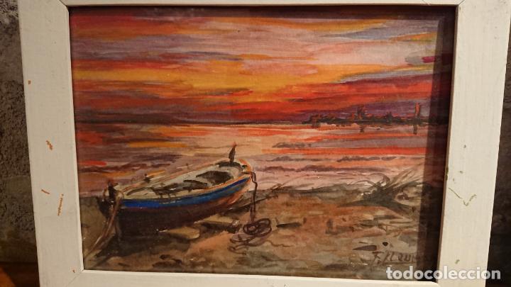 Arte: Antiguos 2 cuadros acuarela de marina del pintor P. Font y F. lRuige - Foto 6 - 152792870
