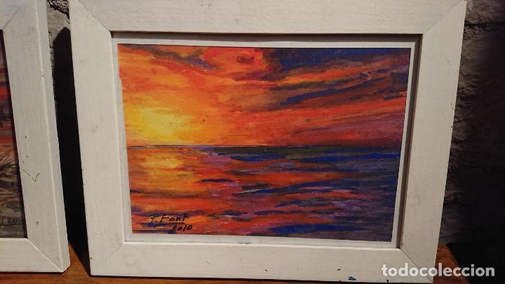 Arte: Antiguos 2 cuadros acuarela de marina del pintor P. Font y F. lRuige - Foto 7 - 152792870