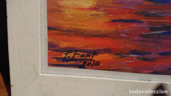 Arte: Antiguos 2 cuadros acuarela de marina del pintor P. Font y F. lRuige - Foto 8 - 152792870
