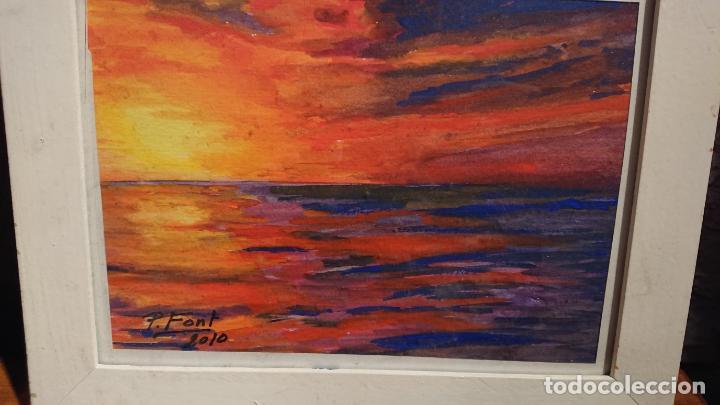 Arte: Antiguos 2 cuadros acuarela de marina del pintor P. Font y F. lRuige - Foto 9 - 152792870
