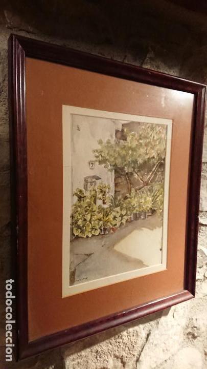 Arte: Antiguo cuadro acuarela de puerta de casa y plantas del pintor Madrid - Foto 2 - 152793506