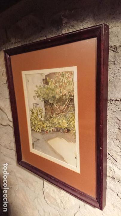 Arte: Antiguo cuadro acuarela de puerta de casa y plantas del pintor Madrid - Foto 3 - 152793506