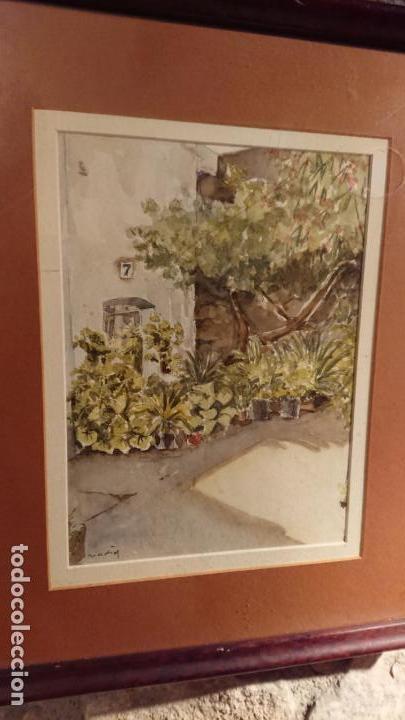 Arte: Antiguo cuadro acuarela de puerta de casa y plantas del pintor Madrid - Foto 4 - 152793506