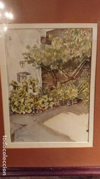 Arte: Antiguo cuadro acuarela de puerta de casa y plantas del pintor Madrid - Foto 5 - 152793506