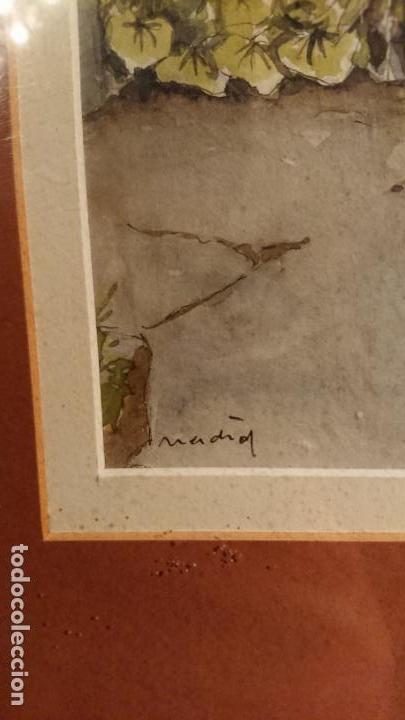 Arte: Antiguo cuadro acuarela de puerta de casa y plantas del pintor Madrid - Foto 6 - 152793506
