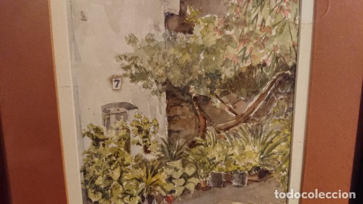 Arte: Antiguo cuadro acuarela de puerta de casa y plantas del pintor Madrid - Foto 8 - 152793506