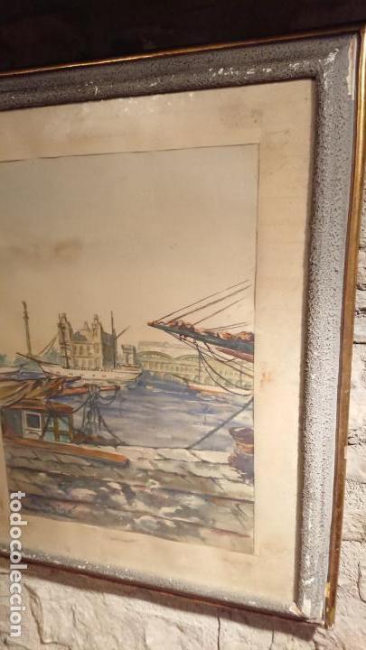 Arte: Antiguo cuadro acuarela del puerto de la ciudad de Mataró por el pintor Josep Ma. Prat Giné - Foto 2 - 152800182