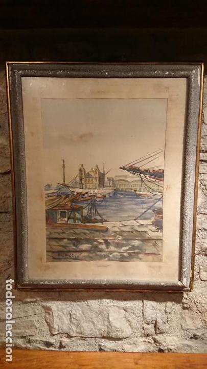 Arte: Antiguo cuadro acuarela del puerto de la ciudad de Mataró por el pintor Josep Ma. Prat Giné - Foto 3 - 152800182