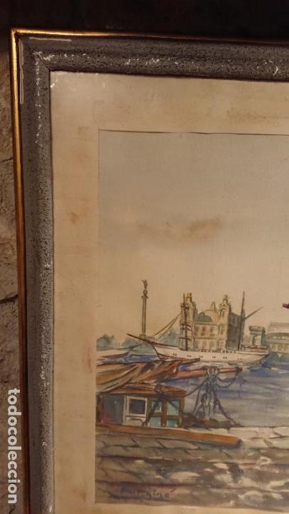 Arte: Antiguo cuadro acuarela del puerto de la ciudad de Mataró por el pintor Josep Ma. Prat Giné - Foto 4 - 152800182