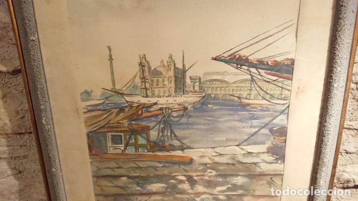 Arte: Antiguo cuadro acuarela del puerto de la ciudad de Mataró por el pintor Josep Ma. Prat Giné - Foto 5 - 152800182