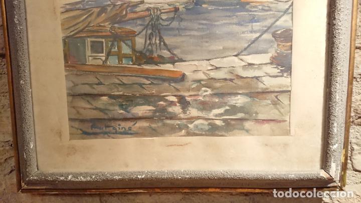 Arte: Antiguo cuadro acuarela del puerto de la ciudad de Mataró por el pintor Josep Ma. Prat Giné - Foto 6 - 152800182
