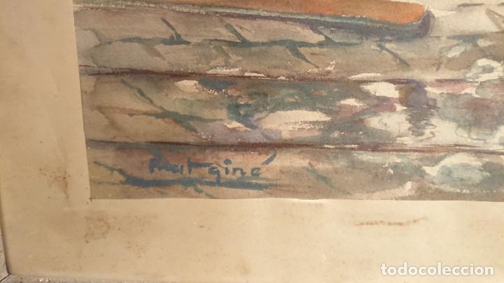 Arte: Antiguo cuadro acuarela del puerto de la ciudad de Mataró por el pintor Josep Ma. Prat Giné - Foto 7 - 152800182