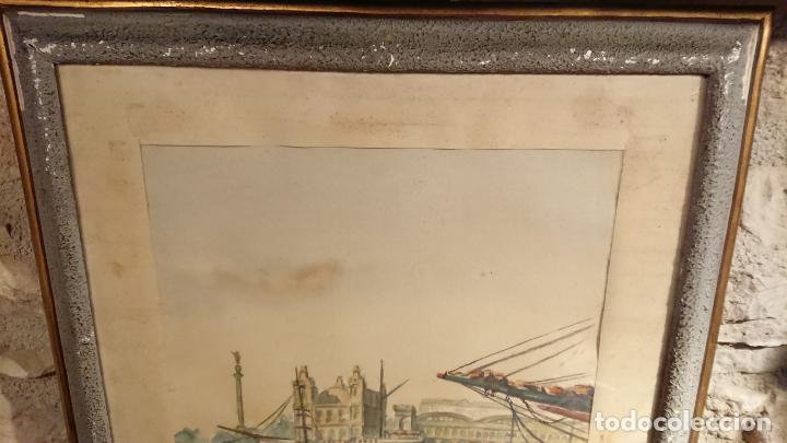 Arte: Antiguo cuadro acuarela del puerto de la ciudad de Mataró por el pintor Josep Ma. Prat Giné - Foto 9 - 152800182