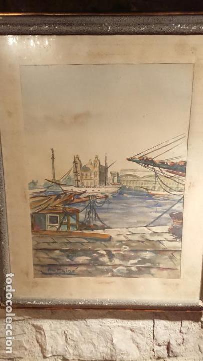 Arte: Antiguo cuadro acuarela del puerto de la ciudad de Mataró por el pintor Josep Ma. Prat Giné - Foto 10 - 152800182