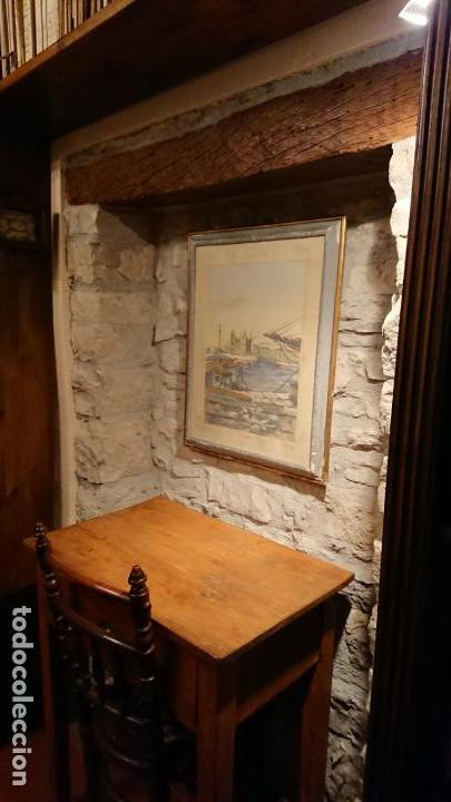Arte: Antiguo cuadro acuarela del puerto de la ciudad de Mataró por el pintor Josep Ma. Prat Giné - Foto 11 - 152800182