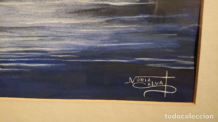 Arte: Antiguo cuadro acuarela de cisne con manos en el cielo de la pintora Nuria Salvat años 90 - Foto 3 - 152822422