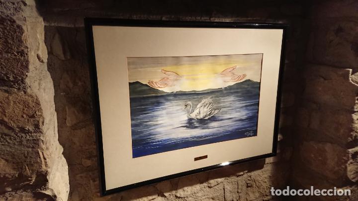 Arte: Antiguo cuadro acuarela de cisne con manos en el cielo de la pintora Nuria Salvat años 90 - Foto 4 - 152822422