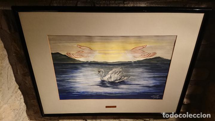 Arte: Antiguo cuadro acuarela de cisne con manos en el cielo de la pintora Nuria Salvat años 90 - Foto 6 - 152822422