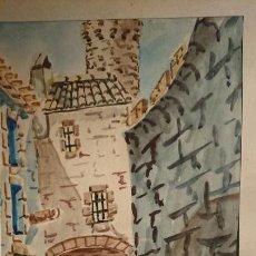 Arte: ANTIGUO CUADRO ACUARELA DE CALLEJUELA REALIZADO POR EL PINTOR CESAR ENMARCADO. Lote 152824518