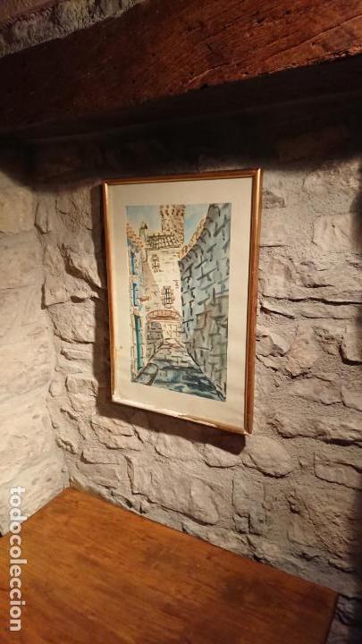 Arte: Antiguo cuadro acuarela de callejuela realizado por el pintor Cesar enmarcado - Foto 2 - 152824518