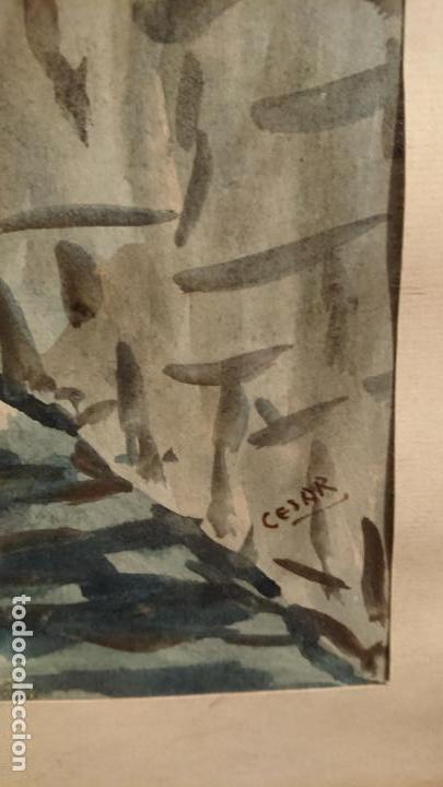 Arte: Antiguo cuadro acuarela de callejuela realizado por el pintor Cesar enmarcado - Foto 3 - 152824518