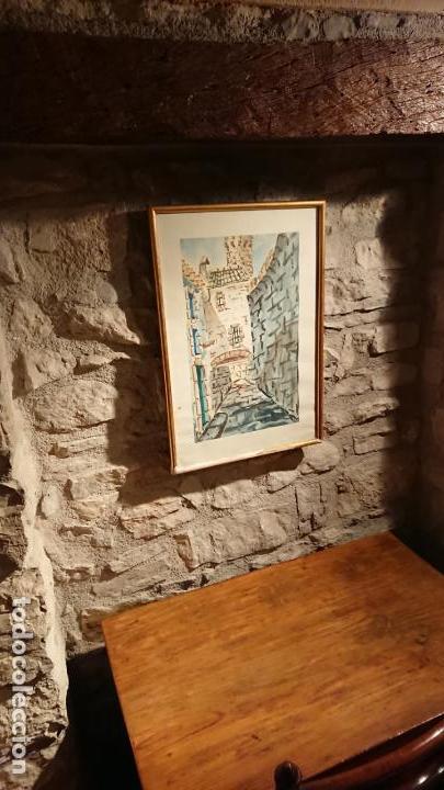 Arte: Antiguo cuadro acuarela de callejuela realizado por el pintor Cesar enmarcado - Foto 4 - 152824518