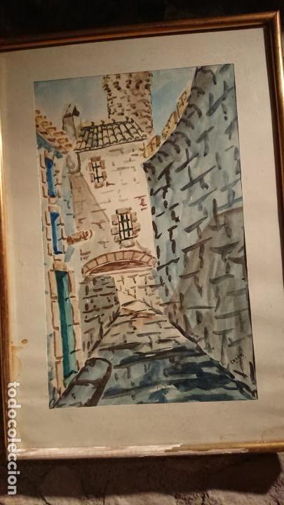 Arte: Antiguo cuadro acuarela de callejuela realizado por el pintor Cesar enmarcado - Foto 5 - 152824518