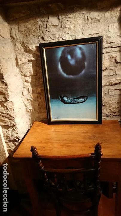 Arte: Antiguo cuadro pintura de arte conceptual representa un luna y barca año 1976 - Foto 2 - 152836930