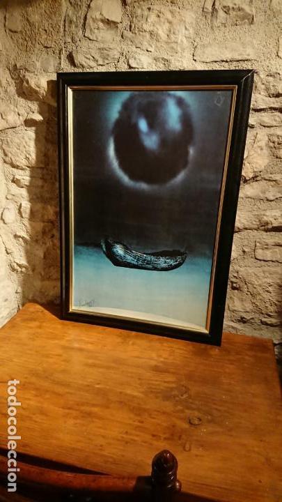 Arte: Antiguo cuadro pintura de arte conceptual representa un luna y barca año 1976 - Foto 3 - 152836930