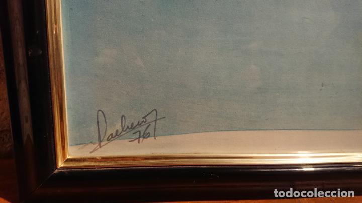 Arte: Antiguo cuadro pintura de arte conceptual representa un luna y barca año 1976 - Foto 5 - 152836930