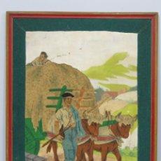 Arte: INTERESANTE COLLAGE. SEGADOR VASCO Y CARRO DE BUEYES. DE LA CAMPA. ESCUELA VASCA. AÑOS 20-30. Lote 153249218