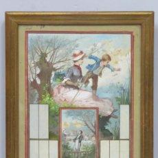 Arte: INTERESANTE BOCETO. MUJER CON NIÑO PESCANDO Y CONVITE. TECNICA MIXTA SOBRE PAPEL. HACIA 1880. Lote 153250098
