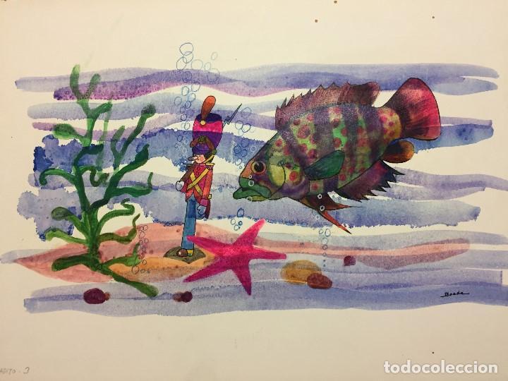 Arte: Dibujo original de Boada para ilustrar la Enciclopedia Infantil, de 10 tomos de Editorial Carroggio - Foto 2 - 112342135