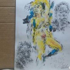 Arte: DIBUJO ACUARELA ORIGINAL EROTICO. Lote 153264289