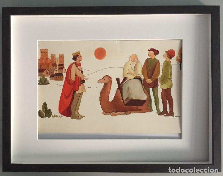 ORIGINAL DE MIREIA CATALA PARA ENCICLOPEDIA INFANTIL, FIRMADA Y CATALOGADA,40X30CMS. (Arte - Acuarelas - Contemporáneas siglo XX)