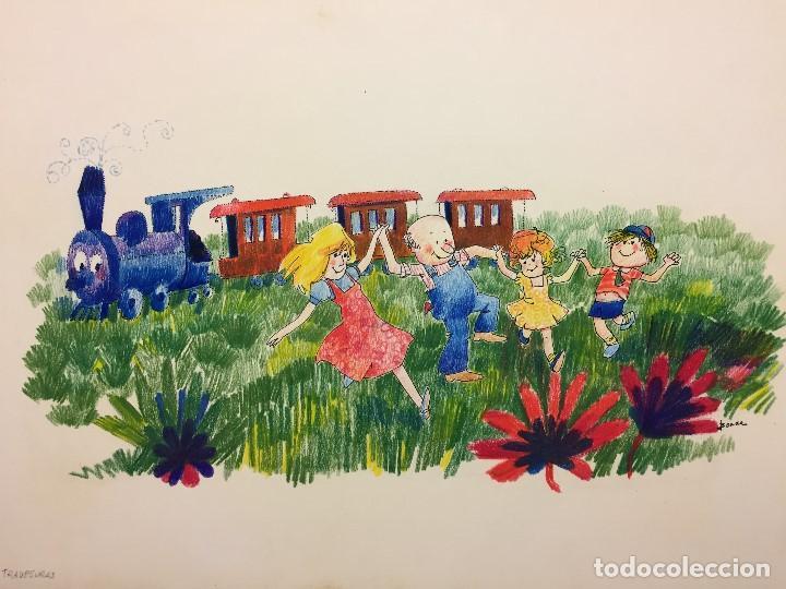 Arte: Dibujo original de Boada para ilustrar la Enciclopedia Infantil, de 10 tomos de Editorial Carroggio - Foto 2 - 112347863