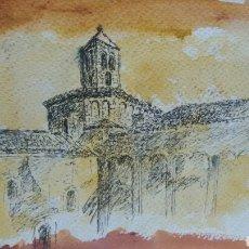 Arte: ACUARELA DIBUJO ORIGINAL EN EL CAMPANARIO. Lote 153270173