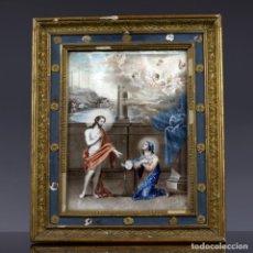 Arte: CRISTO RESUCITADO ANTE LA VIRGEN, TEMPLE SOBRE VITELA ESCUELA ITALIANA, SIGLO XVII. MEDIDAS; 39 X 31. Lote 153350246