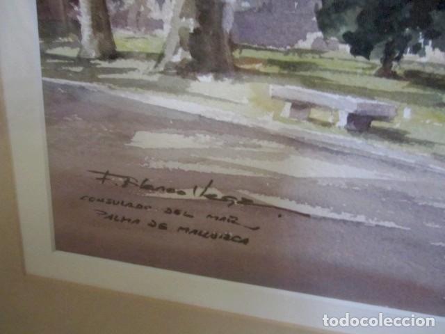 Arte: Cuadro, acuarela de Consulado del Mar, en Mallorca , Faustino Blanco Vega - Foto 4 - 153441618