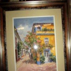 Arte: CUADRO, ACUARELA DE CALLE DE MARBELLA , FAUSTINO BLANCO VEGA . Lote 153441786