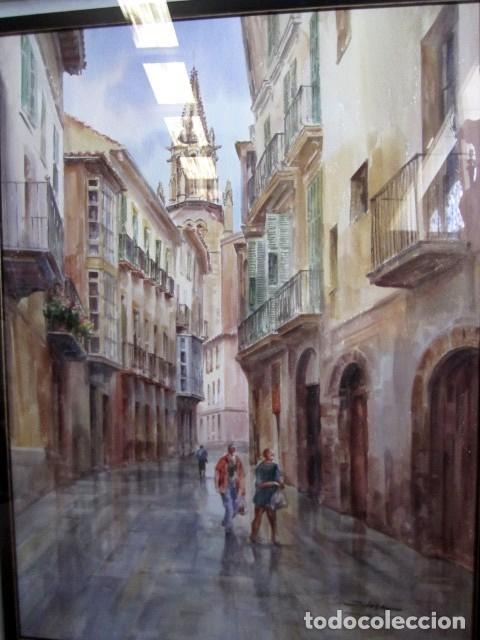Arte: Cuadro acuarela de calle de Mallorca, Faustino Blanco Vega - Foto 2 - 153442090