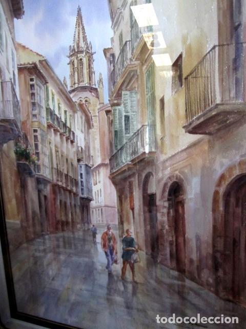Arte: Cuadro acuarela de calle de Mallorca, Faustino Blanco Vega - Foto 3 - 153442090