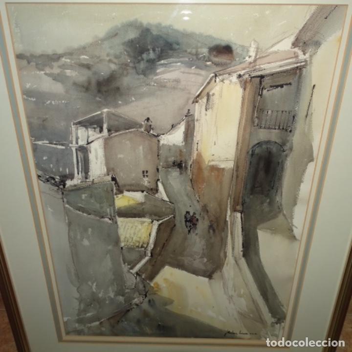 GRAN ACUARELA DE JOSEP MARTÍNEZ LOZANO.CON MUSEO EN LLANÇA.PAISAJE URBANO DE MURA.1982. (Arte - Acuarelas - Contemporáneas siglo XX)