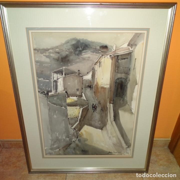 Arte: Gran acuarela de Josep Martínez lozano.con museo en llança.paisaje urbano de mura.1982. - Foto 2 - 153599874