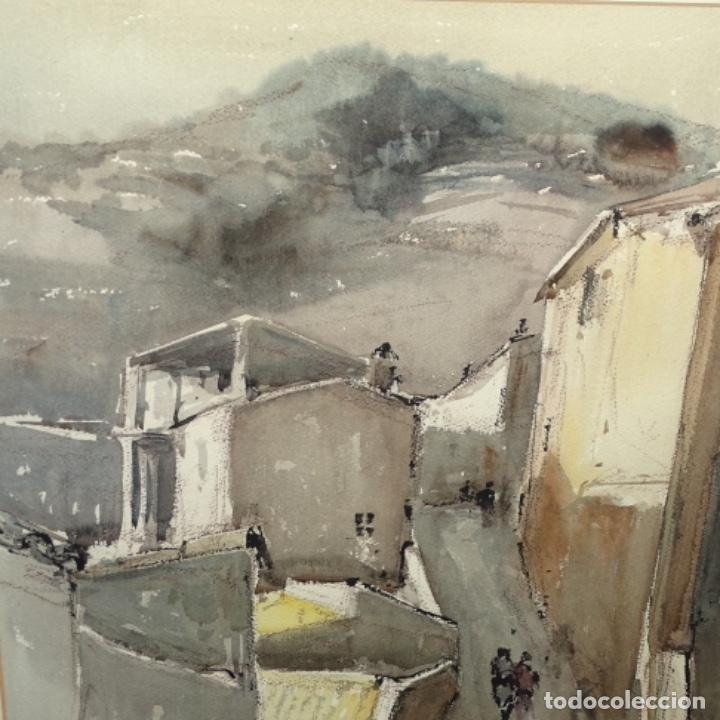 Arte: Gran acuarela de Josep Martínez lozano.con museo en llança.paisaje urbano de mura.1982. - Foto 3 - 153599874